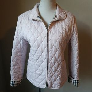 Pink Quilted Burberry Jacket W/ Zipper And Pockets